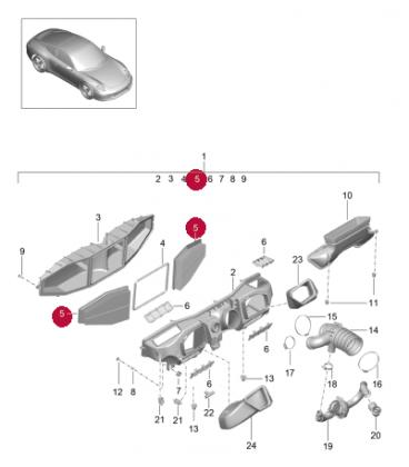 فیلتر هوا پورشه 911 سال های 2012 تا 2016 (طرح اصلی) - 99111013000