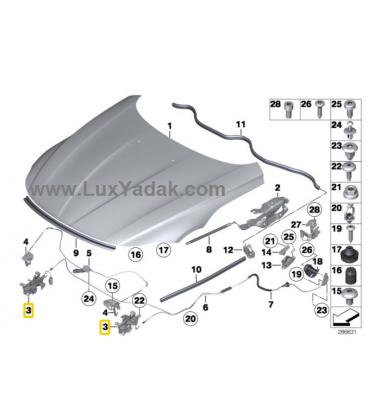 قفل درب موتور سمت چپ بی ام و Z4 سال های 2008 تا 2016 (اورجینال) - 51237002907