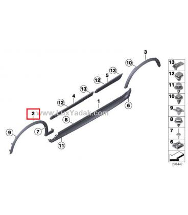 فلاپ گلگیر سمت راست بی ام و X3 سال های 2011 تا 2017 (اورجینال) - 51778052074
