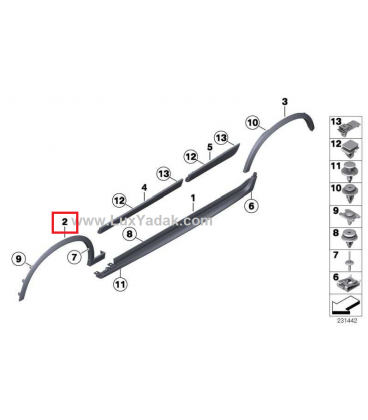 فلاپ گلگیر سمت راست بی ام و X3 و X4 سال های 2011 تا 2016 - 51778052074